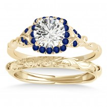 Blue Sapphire Butterfly Halo Bridal Set 14k Yellow Gold (0.14ct)
