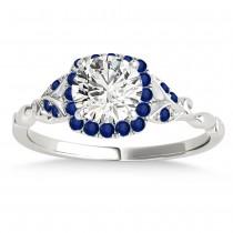 Blue Sapphire Butterfly Halo Bridal Set Palladium (0.14ct)
