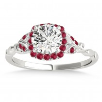 Ruby Accented Butterfly Halo Bridal Set 18k White Gold (0.14ct)