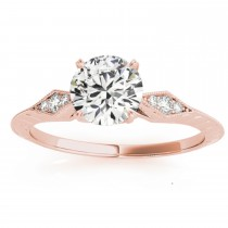 Diamond Accented Sidestone Engagement Ring Setting 14k Rose Gold (0.41ct)