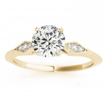 Diamond Accented Sidestone Engagement Ring Setting 14k Yellow Gold (0.41ct)