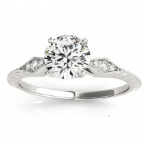 Diamond Accented Sidestone Engagement Ring Setting 18k White Gold (0.41ct)