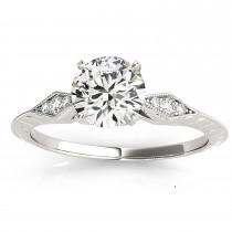 Diamond Accented Single Row Engagement Ring Setting Platinum (0.41ct)