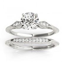 Diamond Accented Sidestone Setting Bridal Set 14k White Gold (0.31ct)