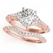 Diamond Antique Style Swirl Bridal Set 14k Rose Gold (1.25ct)