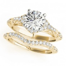 Diamond Antique Style Swirl Bridal Set 14k Yellow Gold (1.25ct)