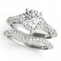 Diamond Antique Style Swirl Bridal Set Platinum (1.25ct)