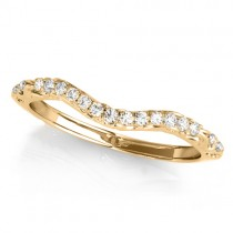 Diamond Contoured Wedding Band Ring 14k Yellow Gold (0.08ct)
