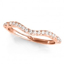 Diamond Contoured Wedding Band Ring 18k Rose Gold (0.08ct)