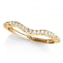 Diamond Contoured Wedding Band Ring 18k Yellow Gold (0.08ct)