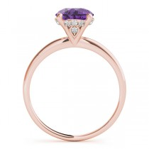 Amethyst & Diamond Solitaire Engagement Ring 14k Rose Gold (1.07ct)