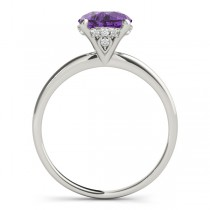 Amethyst & Diamond Solitaire Engagement Ring 14k White Gold (1.07ct)