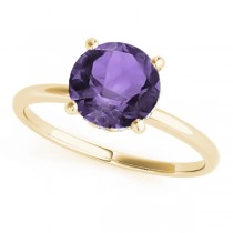 Amethyst & Diamond Solitaire Engagement Ring 14k Yellow Gold (1.07ct)