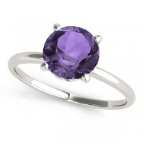 Amethyst & Diamond Solitaire Engagement Ring 18k White Gold (1.07ct)