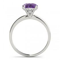 Amethyst & Diamond Solitaire Engagement Ring Palladium (1.07ct)