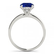 Blue Sapphire & Diamond Solitaire Engagement Ring 14k White Gold (1.07ct)