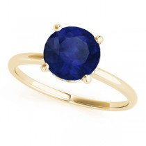 Blue Sapphire & Diamond Solitaire Engagement Ring 14k Yellow Gold (1.07ct)
