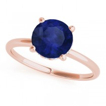 Blue Sapphire & Diamond Solitaire Engagement Ring 18k Rose Gold (1.07ct)