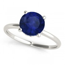 Blue Sapphire & Diamond Solitaire Engagement Ring 18k White Gold (1.07ct)