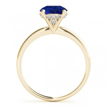 Blue Sapphire & Diamond Solitaire Engagement Ring 18k Yellow Gold (1.07ct)