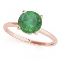 Emerald & Diamond Solitaire Engagement Ring 14k Rose Gold (1.07ct)