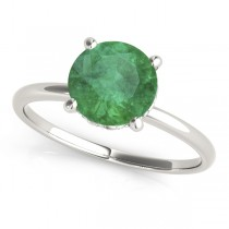 Emerald & Diamond Solitaire Engagement Ring 14k White Gold (1.07ct)
