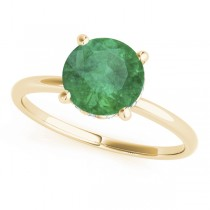 Emerald & Diamond Solitaire Engagement Ring 14k Yellow Gold (1.07ct)