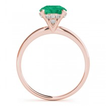Emerald & Diamond Solitaire Engagement Ring 18k Rose Gold (1.07ct)
