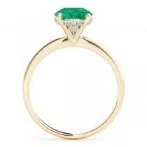 Emerald & Diamond Solitaire Engagement Ring 18k Yellow Gold (1.07ct)