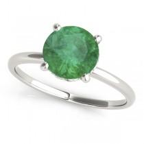 Emerald & Diamond Solitaire Engagement Ring Palladium (1.07ct)