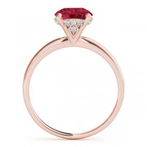 Ruby & Diamond Solitaire Engagement Ring 14k Rose Gold (1.07ct)