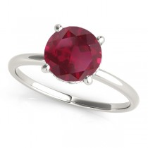Ruby & Diamond Solitaire Engagement Ring 14k White Gold (1.07ct)