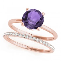 Amethyst & Diamond Solitaire Bridal Set 14k Rose Gold (1.20ct)