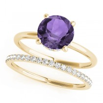 Amethyst & Diamond Solitaire Bridal Set 14k Yellow Gold (1.20ct)