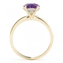 Amethyst & Diamond Solitaire Bridal Set 14k Yellow Gold (1.20ct)
