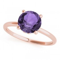 Amethyst & Diamond Solitaire Bridal Set 18k Rose Gold (1.20ct)
