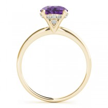 Amethyst & Diamond Solitaire Bridal Set 18k Yellow Gold (1.20ct)