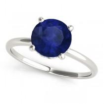 Blue Sapphire & Diamond Solitaire Bridal Set 14k White Gold (1.20ct)