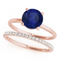 Blue Sapphire & Diamond Solitaire Bridal Set 18k Rose Gold (1.20ct)