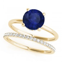 Blue Sapphire & Diamond Solitaire Bridal Set 18k Yellow Gold (1.20ct)