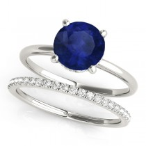 Blue Sapphire & Diamond Solitaire Bridal Set Platinum (1.20ct)