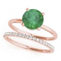 Emerald & Diamond Solitaire Bridal Set 14k Rose Gold (1.20ct)