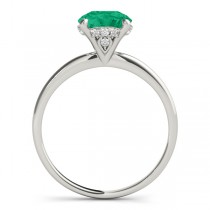 Emerald & Diamond Solitaire Bridal Set 14k White Gold (1.20ct)