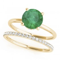 Emerald & Diamond Solitaire Bridal Set 14k Yellow Gold (1.20ct)