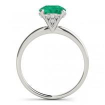 Emerald & Diamond Solitaire Bridal Set 18k White Gold (1.20ct)