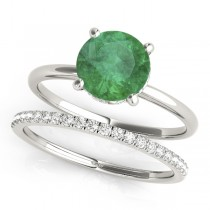 Emerald & Diamond Solitaire Bridal Set Palladium (1.20ct)
