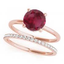 Ruby & Diamond Solitaire Bridal Set 14k Rose Gold (1.20ct)