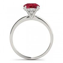 Ruby & Diamond Solitaire Bridal Set 14k White Gold (1.20ct)