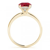 Ruby & Diamond Solitaire Bridal Set 14k Yellow Gold (1.20ct)