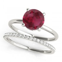 Ruby & Diamond Solitaire Bridal Set 18k White Gold (1.20ct)